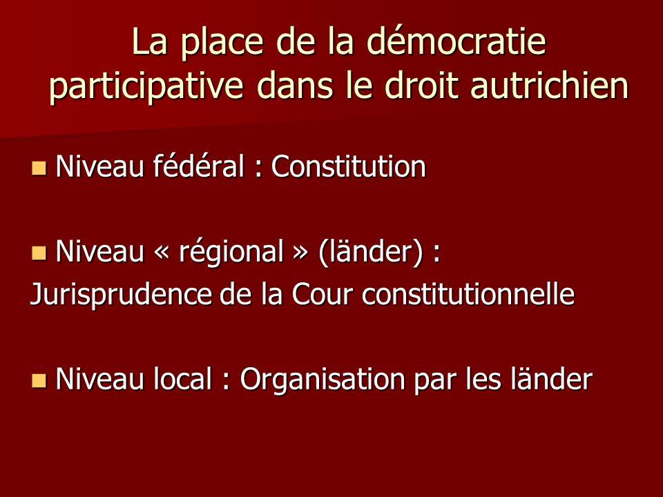 La place de la démocratie participative dans le droit autrichien Niveau fédéral : Constitution Niveau « régional » (länder) : Jurisprudence de la Cour