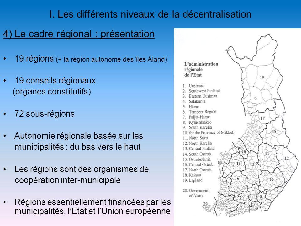 I. Les différents niveaux de la décentralisation 19 régions (+ la région autonome des îles Åland) 19 conseils régionaux (organes constitutifs) 72 sous