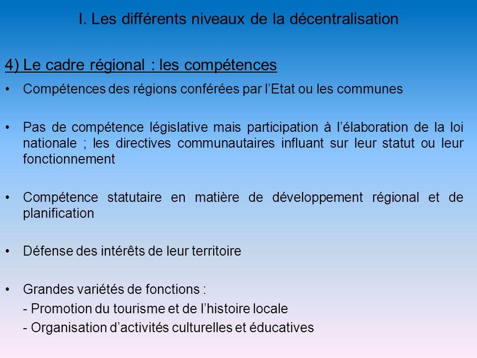 I. Les différents niveaux de la décentralisation Compétences des régions conférées par lEtat ou les communes Pas de compétence législative mais partic