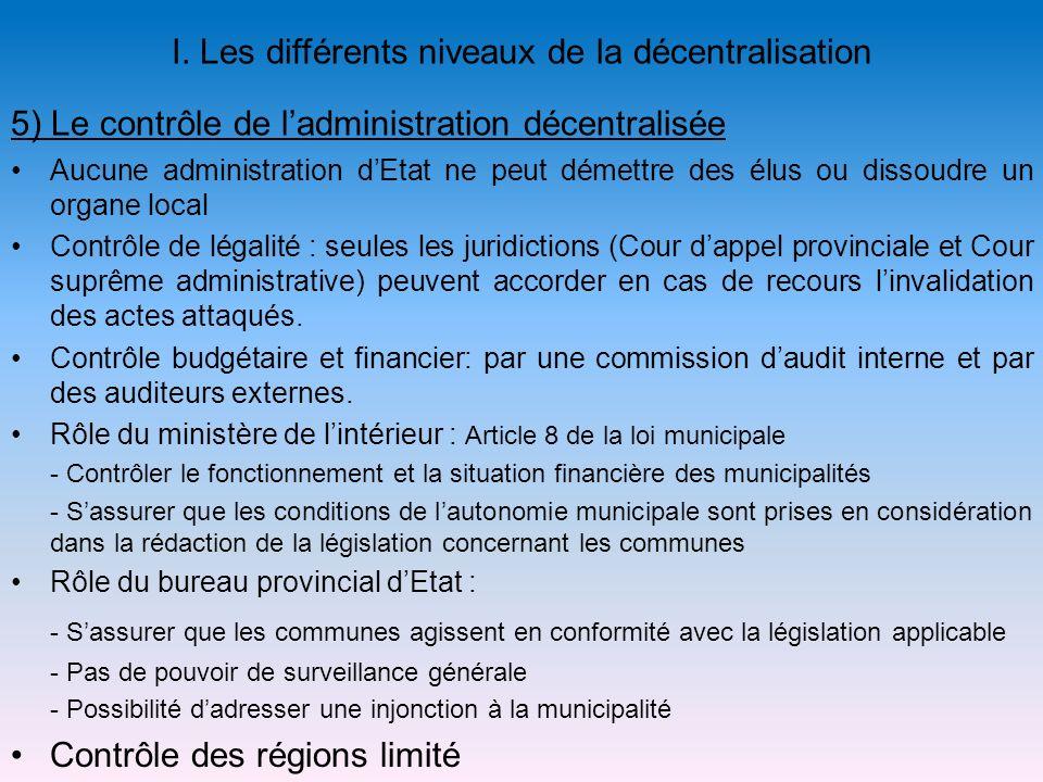 5) Le contrôle de ladministration décentralisée Aucune administration dEtat ne peut démettre des élus ou dissoudre un organe local Contrôle de légalit