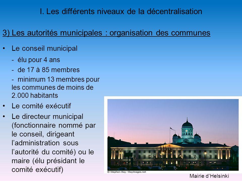 Le conseil municipal - élu pour 4 ans - de 17 à 85 membres - minimum 13 membres pour les communes de moins de 2.000 habitants Le comité exécutif Le di