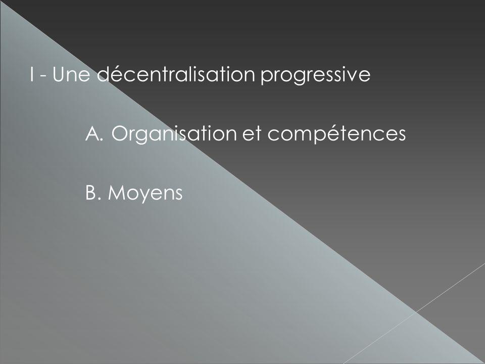 I - Une décentralisation progressive A. Organisation et compétences B. Moyens