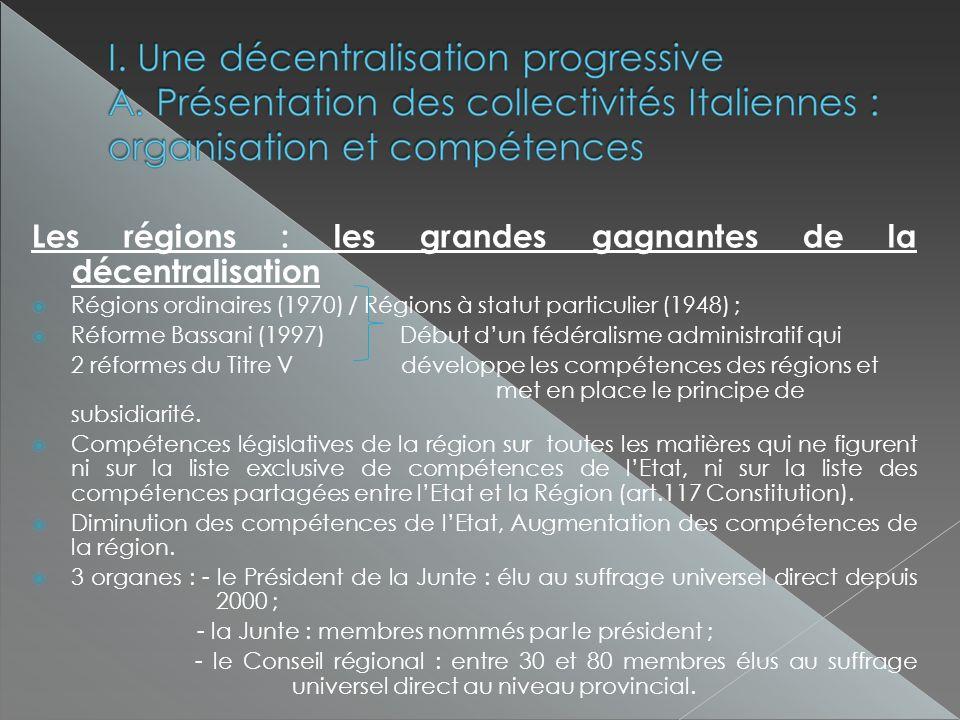 Les régions : les grandes gagnantes de la décentralisation Régions ordinaires (1970) / Régions à statut particulier (1948) ; Réforme Bassani (1997) Début dun fédéralisme administratif qui 2 réformes du Titre V développe les compétences des régions et met en place le principe de subsidiarité.
