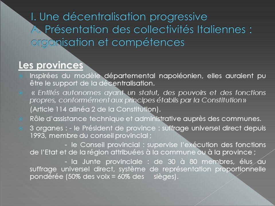 Les provinces Inspirées du modèle départemental napoléonien, elles auraient pu être le support de la décentralisation.