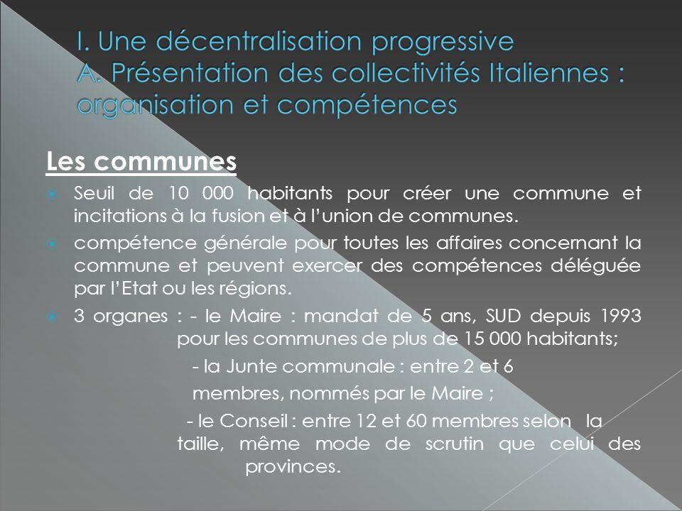 Les communes Seuil de 10 000 habitants pour créer une commune et incitations à la fusion et à lunion de communes.