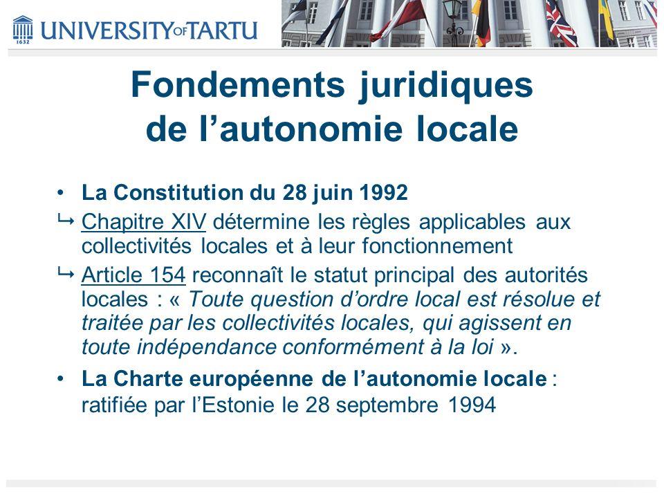 Fondements juridiques de lautonomie locale La Constitution du 28 juin 1992 Chapitre XIV détermine les règles applicables aux collectivités locales et