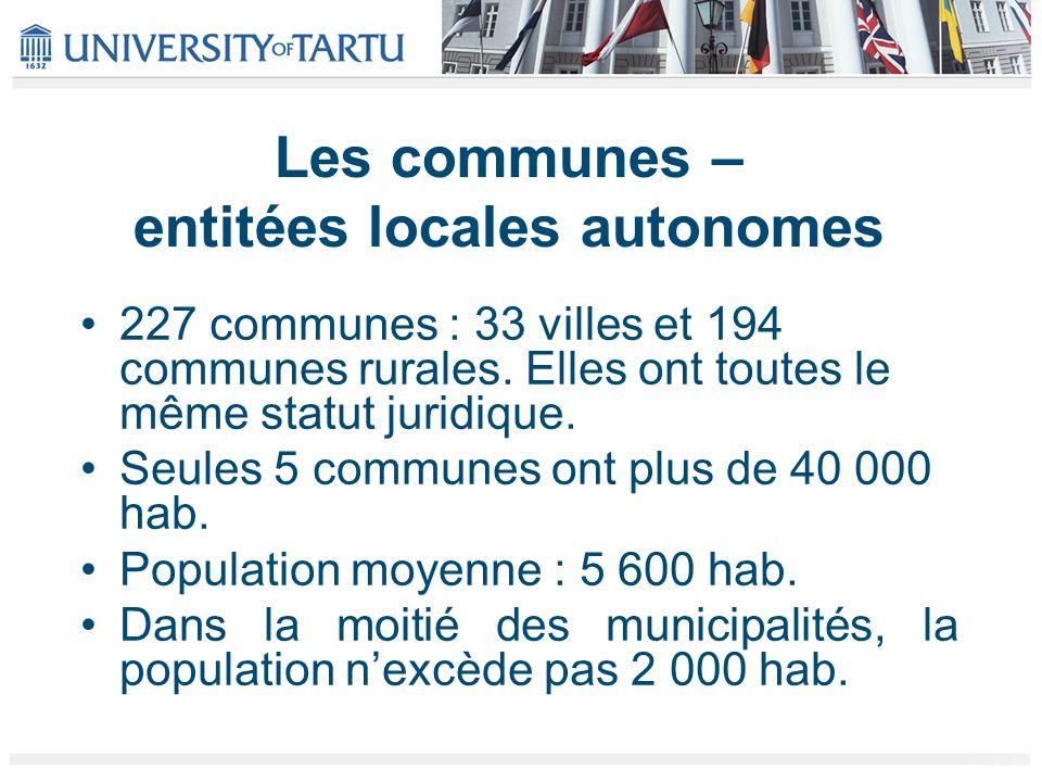 Les communes – entitées locales autonomes 227 communes : 33 villes et 194 communes rurales. Elles ont toutes le même statut juridique. Seules 5 commun