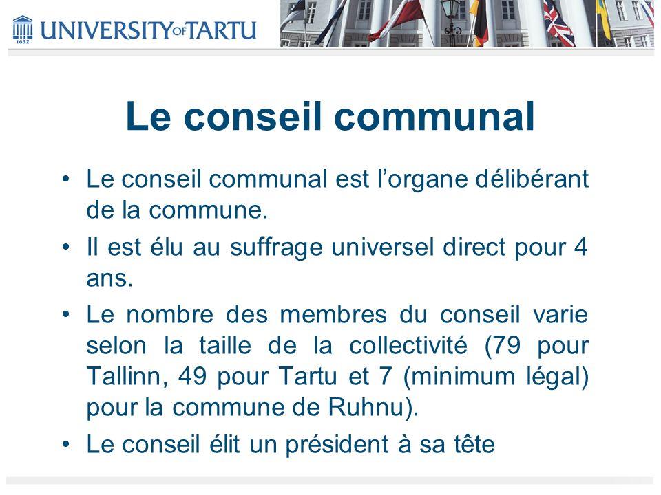 Le conseil communal Le conseil communal est lorgane délibérant de la commune. Il est élu au suffrage universel direct pour 4 ans. Le nombre des membre