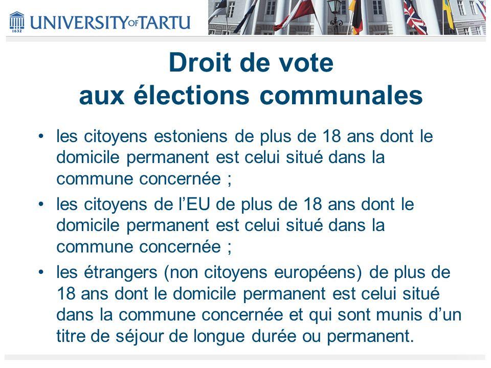 Droit de vote aux élections communales les citoyens estoniens de plus de 18 ans dont le domicile permanent est celui situé dans la commune concernée ;