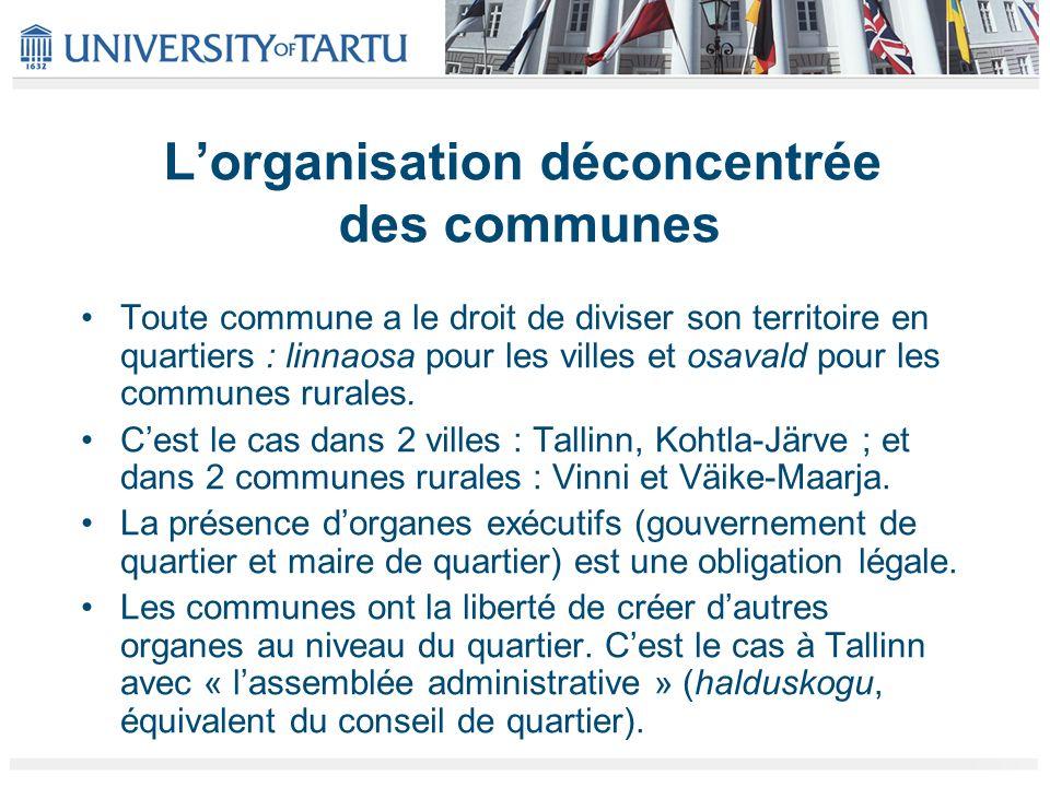 Lorganisation déconcentrée des communes Toute commune a le droit de diviser son territoire en quartiers : linnaosa pour les villes et osavald pour les
