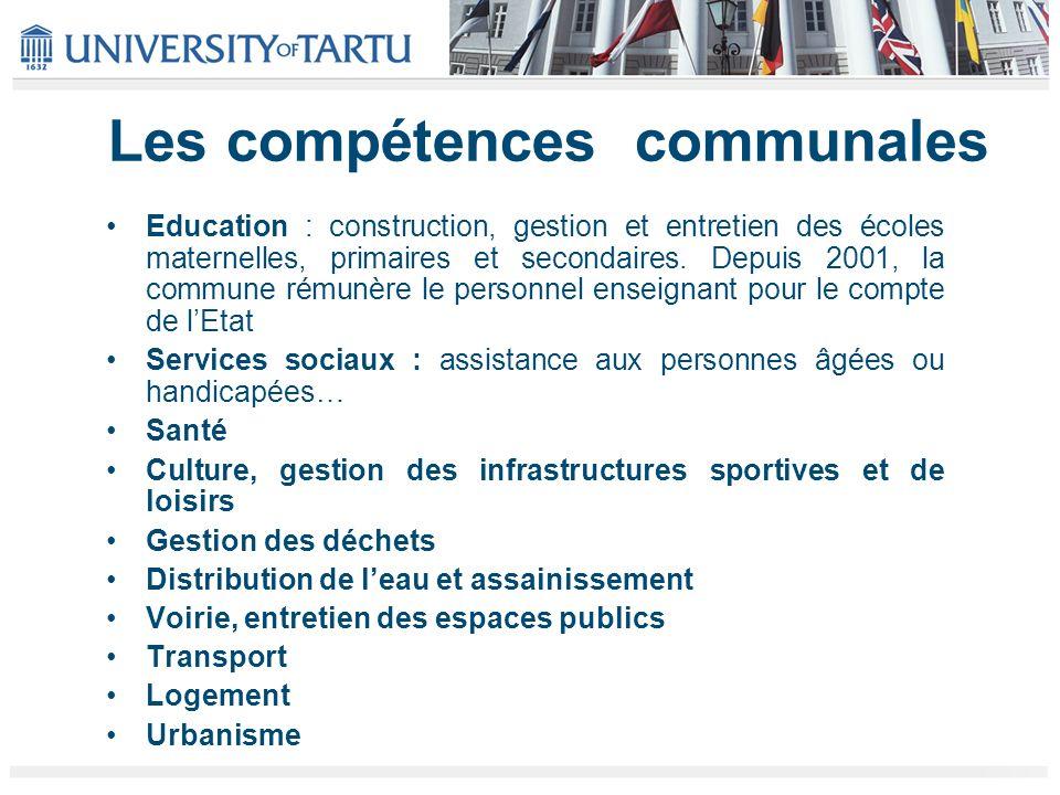 Les compétences communales Education : construction, gestion et entretien des écoles maternelles, primaires et secondaires. Depuis 2001, la commune ré