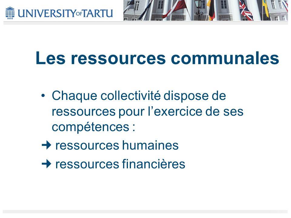 Les ressources communales Chaque collectivité dispose de ressources pour lexercice de ses compétences : ressources humaines ressources financières