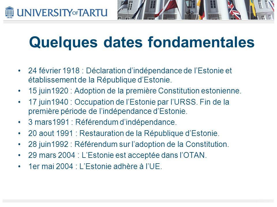 Quelques dates fondamentales 24 février 1918 : Déclaration dindépendance de lEstonie et établissement de la République dEstonie. 15 juin1920 : Adoptio