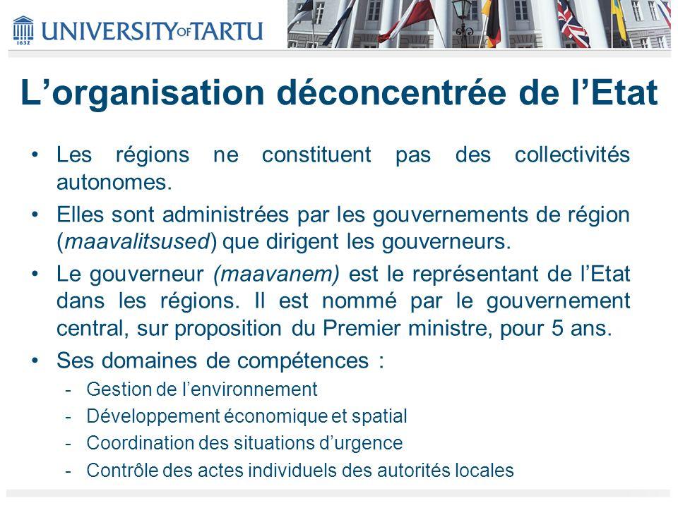 Lorganisation décentralisée de lEtat Depuis 1992, lEstonie ne connaît quun seul niveau de collectivités locales autonomes : le niveau communal