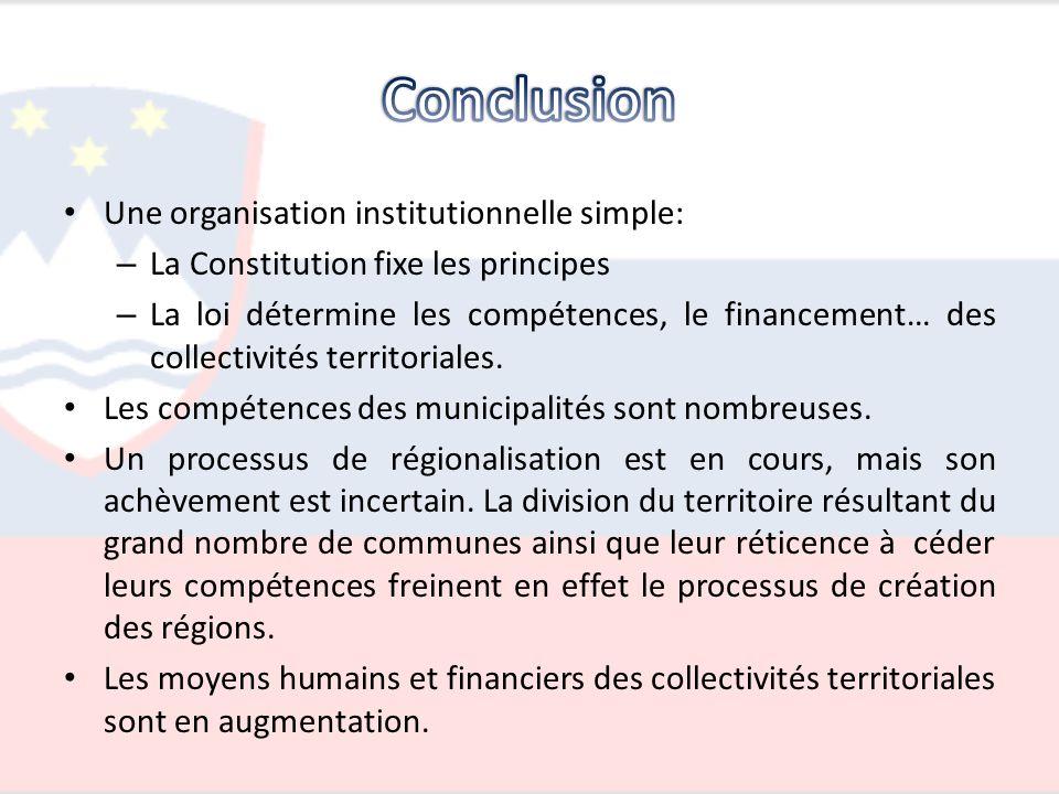 Une organisation institutionnelle simple: – La Constitution fixe les principes – La loi détermine les compétences, le financement… des collectivités t