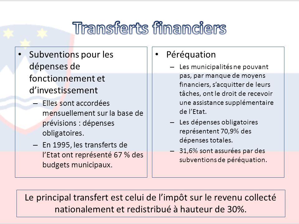 Subventions pour les dépenses de fonctionnement et dinvestissement – Elles sont accordées mensuellement sur la base de prévisions : dépenses obligatoi