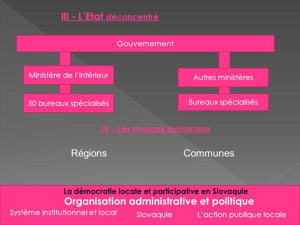 Slovaquie Organisation administrative et politique III - LEtat déconcentré IV - Les niveaux territoriaux RégionsCommunes Système institutionnel et loc