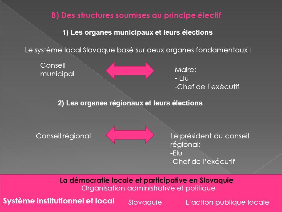Slovaquie Organisation administrative et politique B) Des structures soumises au principe électif 1) Les organes municipaux et leurs élections Le syst