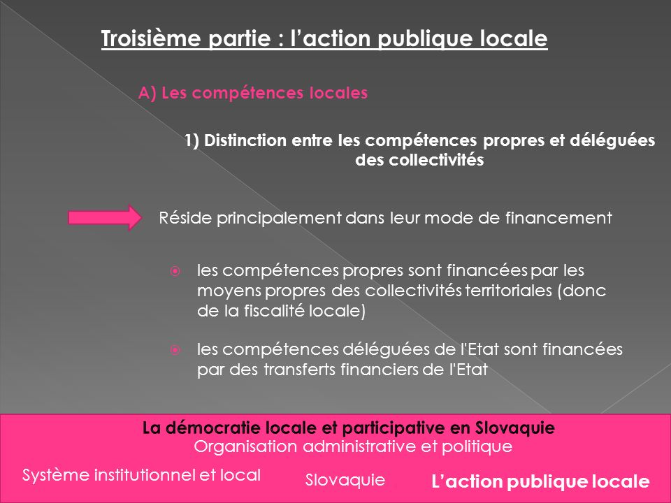 Slovaquie Organisation administrative et politique Troisième partie : laction publique locale A) Les compétences locales 1) Distinction entre les comp