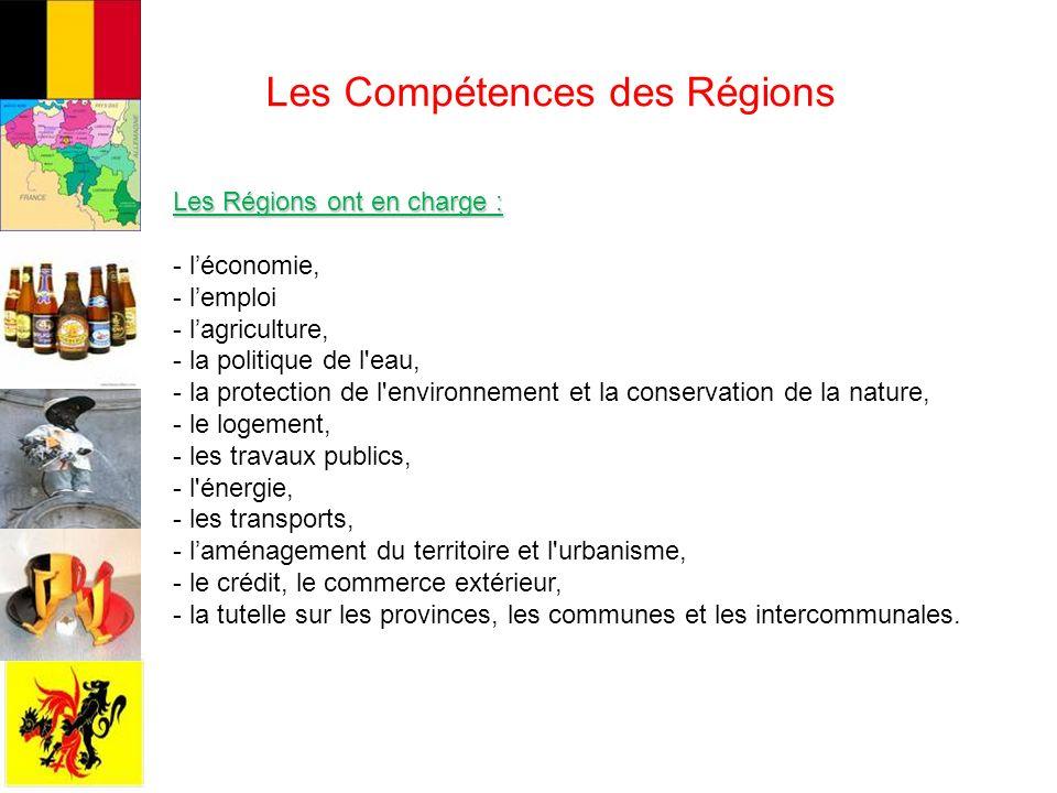 Les Compétences des Régions Les Régions ont en charge : - léconomie, - lemploi - lagriculture, - la politique de l eau, - la protection de l environnement et la conservation de la nature, - le logement, - les travaux publics, - l énergie, - les transports, - laménagement du territoire et l urbanisme, - le crédit, le commerce extérieur, - la tutelle sur les provinces, les communes et les intercommunales.