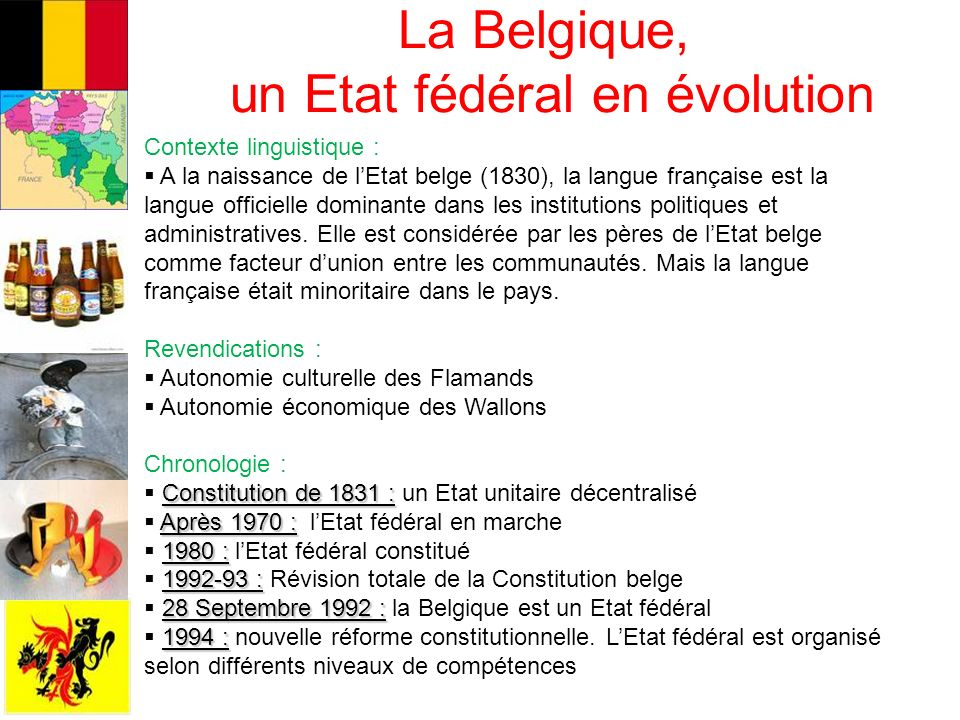 La Belgique, un Etat fédéral en évolution Contexte linguistique : A la naissance de lEtat belge (1830), la langue française est la langue officielle dominante dans les institutions politiques et administratives.