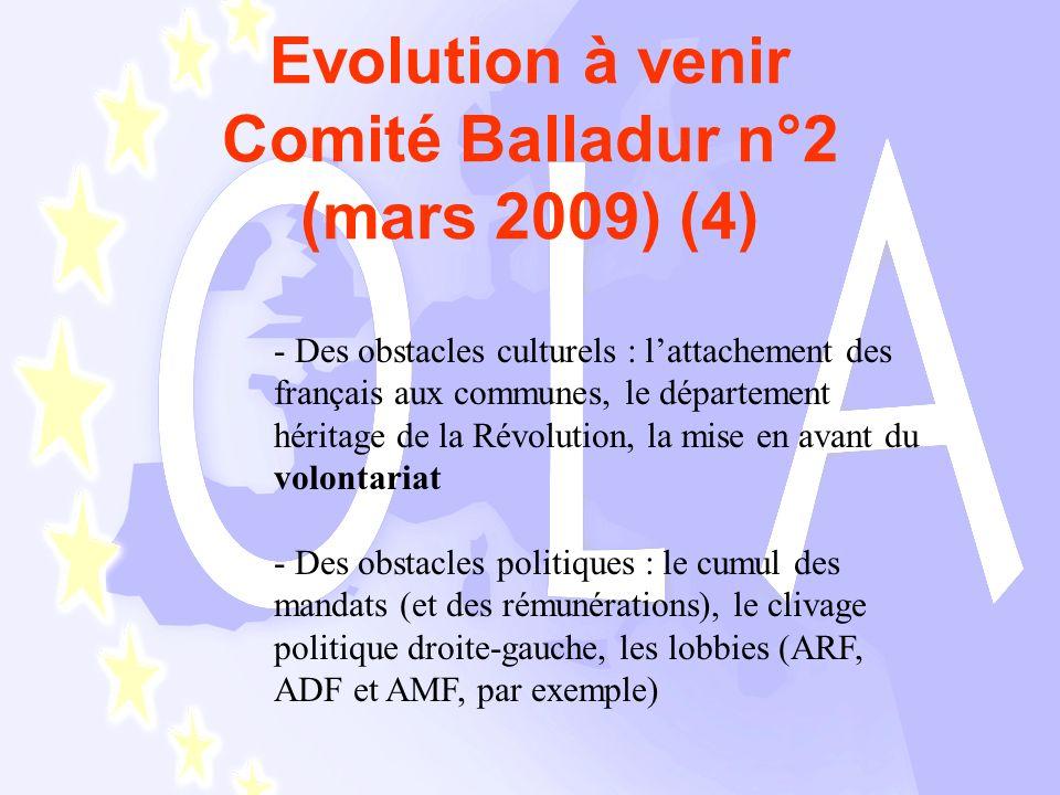 Evolution à venir Comité Balladur n°2 (mars 2009) (4) - Des obstacles culturels : lattachement des français aux communes, le département héritage de la Révolution, la mise en avant du volontariat - Des obstacles politiques : le cumul des mandats (et des rémunérations), le clivage politique droite-gauche, les lobbies (ARF, ADF et AMF, par exemple)