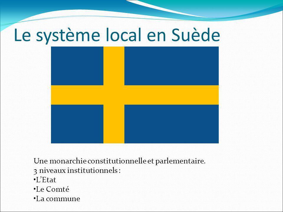 Le système local en Suède Une monarchie constitutionnelle et parlementaire. 3 niveaux institutionnels : LEtat Le Comté La commune