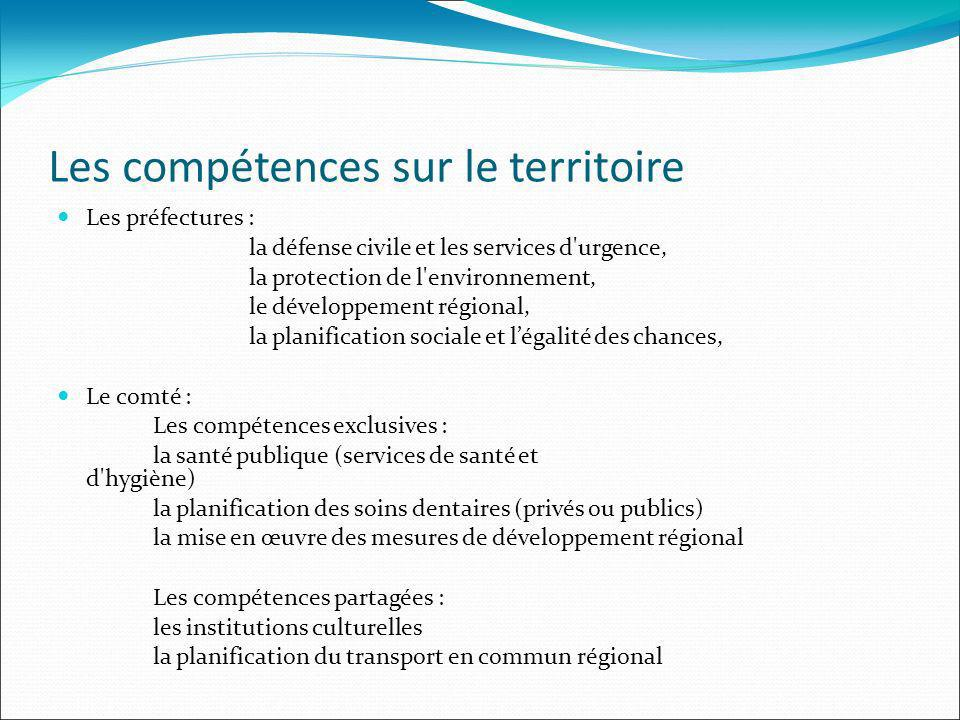 Les compétences sur le territoire Les préfectures : la défense civile et les services d'urgence, la protection de l'environnement, le développement ré