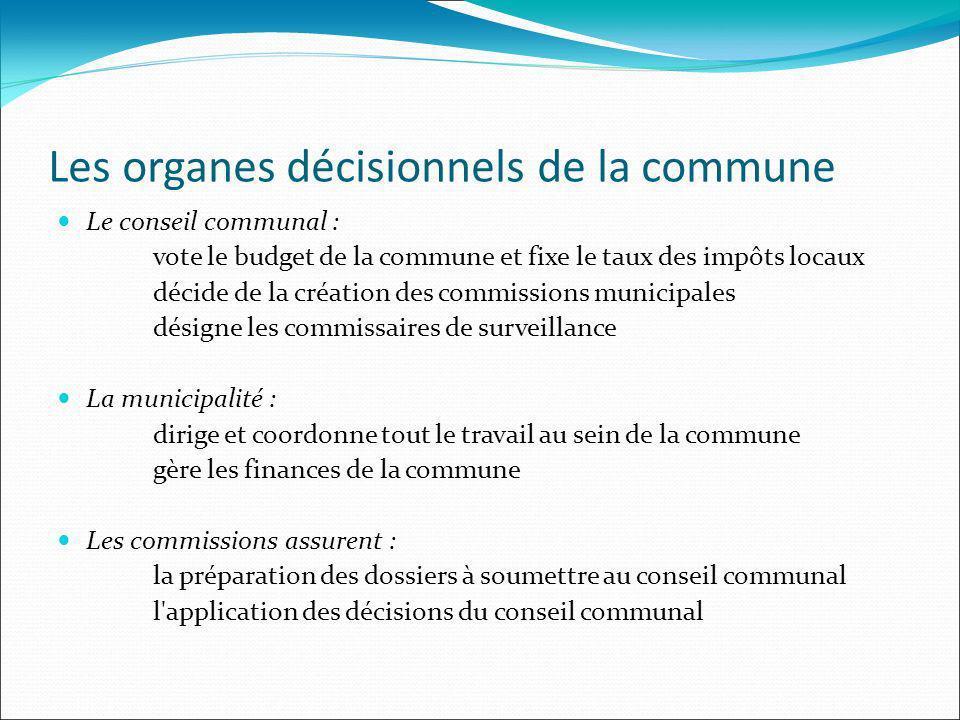 Les organes décisionnels de la commune Le conseil communal : vote le budget de la commune et fixe le taux des impôts locaux décide de la création des