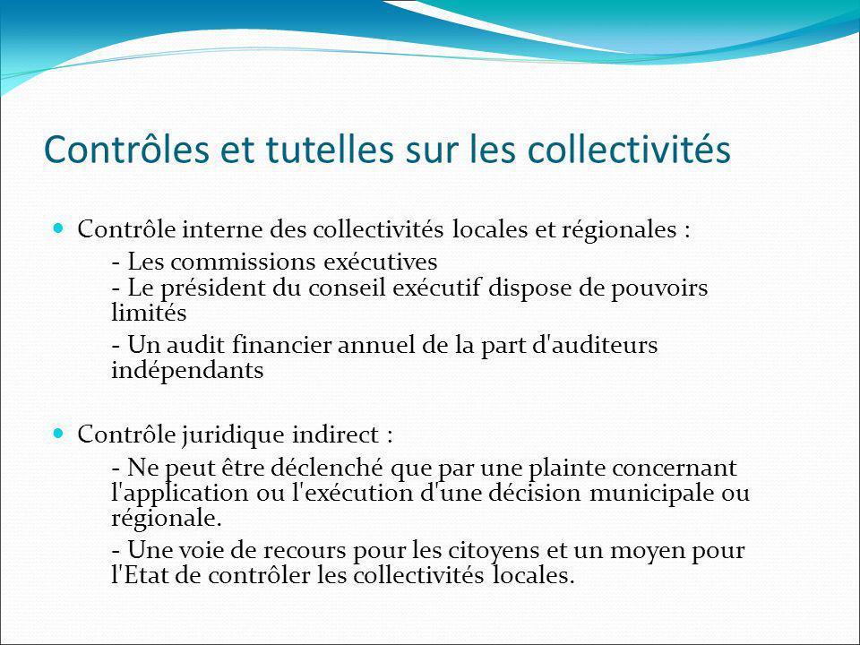 Contrôles et tutelles sur les collectivités Contrôle interne des collectivités locales et régionales : - Les commissions exécutives - Le président du