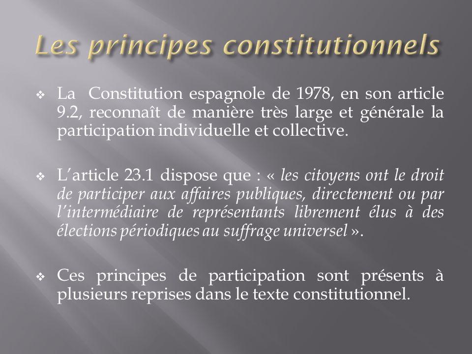 La Constitution espagnole de 1978, en son article 9.2, reconnaît de manière très large et générale la participation individuelle et collective. Lartic