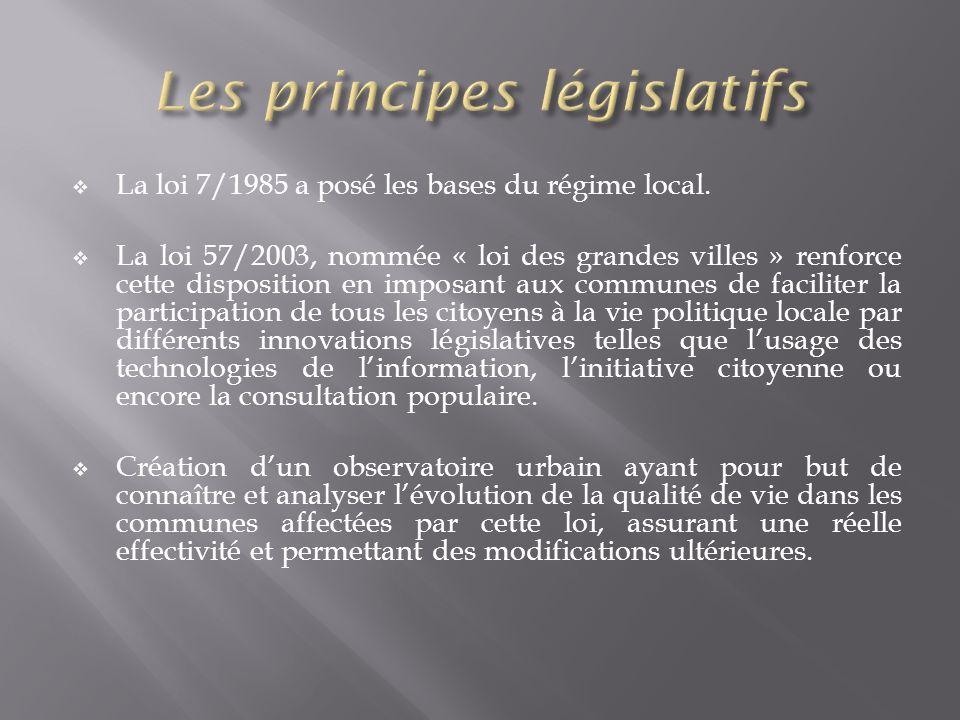 La loi 7/1985 a posé les bases du régime local. La loi 57/2003, nommée « loi des grandes villes » renforce cette disposition en imposant aux communes