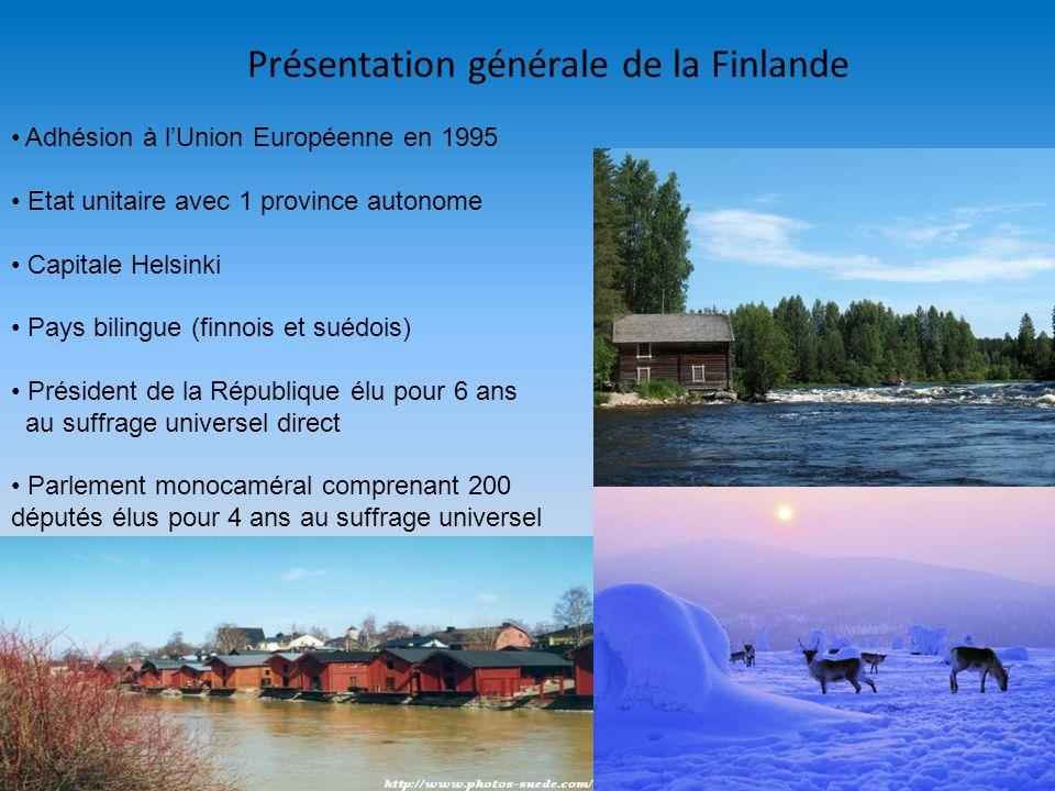 Présentation générale de la Finlande Adhésion à lUnion Européenne en 1995 Etat unitaire avec 1 province autonome Capitale Helsinki Pays bilingue (finn