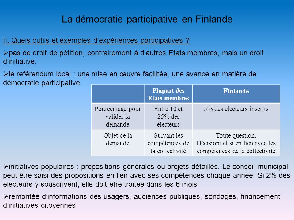 La démocratie participative en Finlande II. Quels outils et exemples dexpériences participatives ? pas de droit de pétition, contrairement à dautres E
