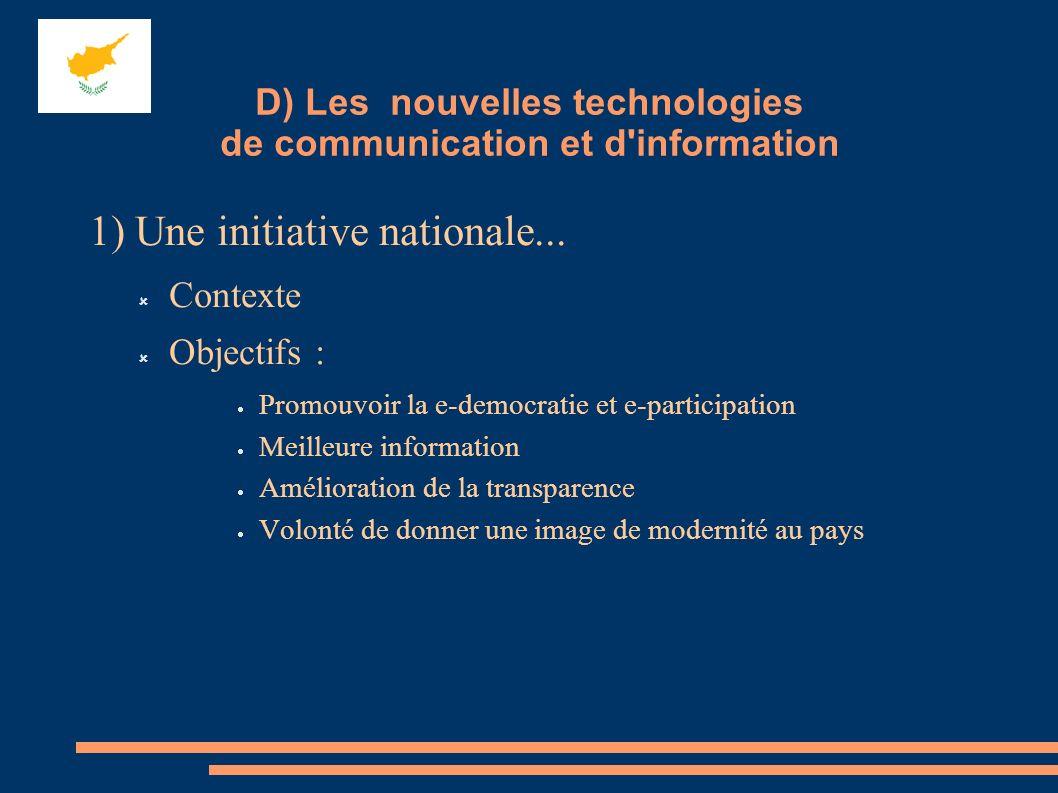 1) Une initiative nationale... Contexte Objectifs : Promouvoir la e-democratie et e-participation Meilleure information Amélioration de la transparenc