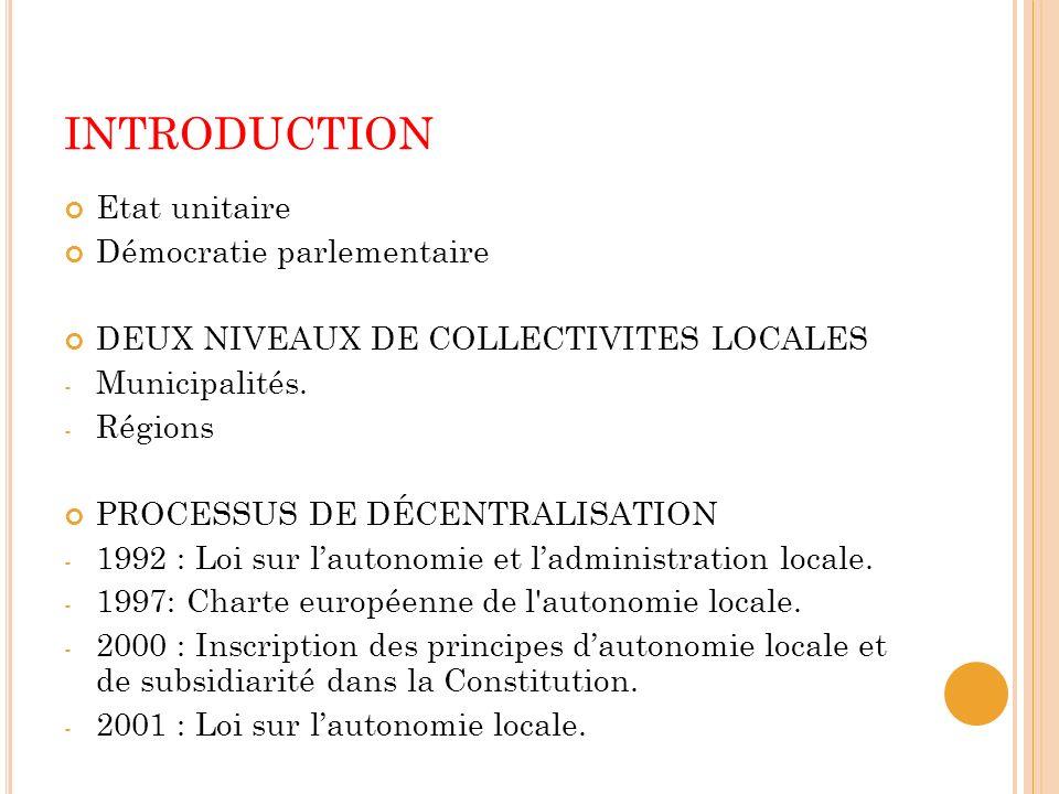 INTRODUCTION Etat unitaire Démocratie parlementaire DEUX NIVEAUX DE COLLECTIVITES LOCALES - Municipalités.