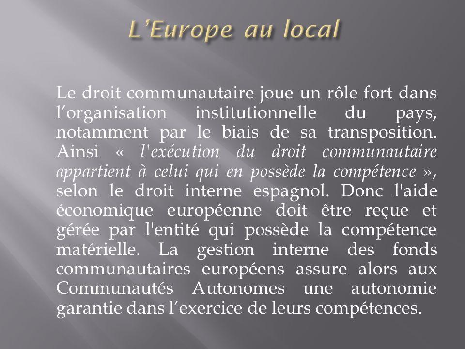 Le droit communautaire joue un rôle fort dans lorganisation institutionnelle du pays, notamment par le biais de sa transposition. Ainsi « l'exécution