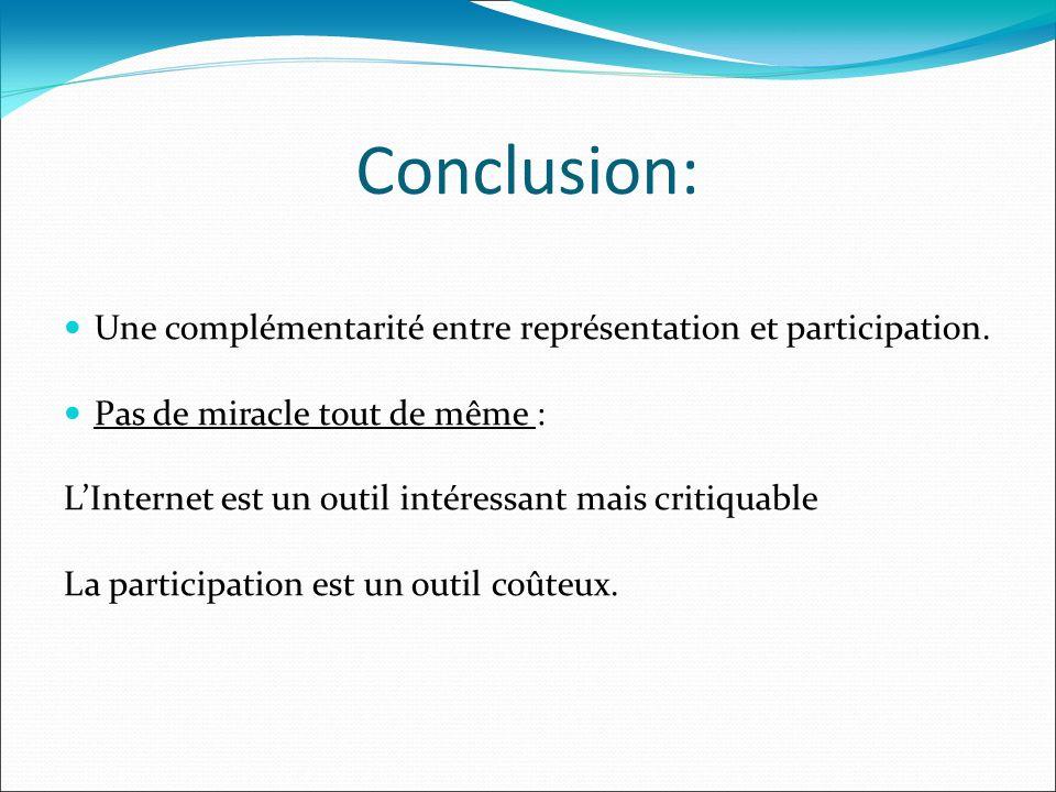 Conclusion: Une complémentarité entre représentation et participation. Pas de miracle tout de même : LInternet est un outil intéressant mais critiquab
