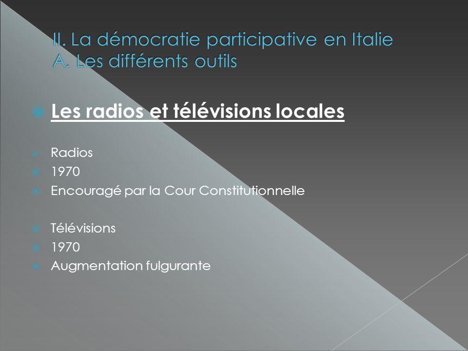 Les radios et télévisions locales Radios 1970 Encouragé par la Cour Constitutionnelle Télévisions 1970 Augmentation fulgurante