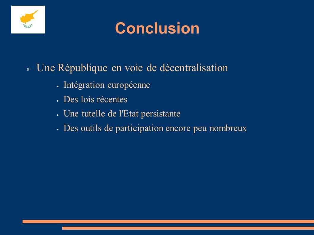Conclusion Une République en voie de décentralisation Intégration européenne Des lois récentes Une tutelle de l'Etat persistante Des outils de partici