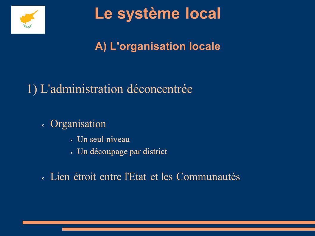 Le système local A) L organisation locale 1) L administration déconcentrée Organisation Un seul niveau Un découpage par district Lien étroit entre l Etat et les Communautés