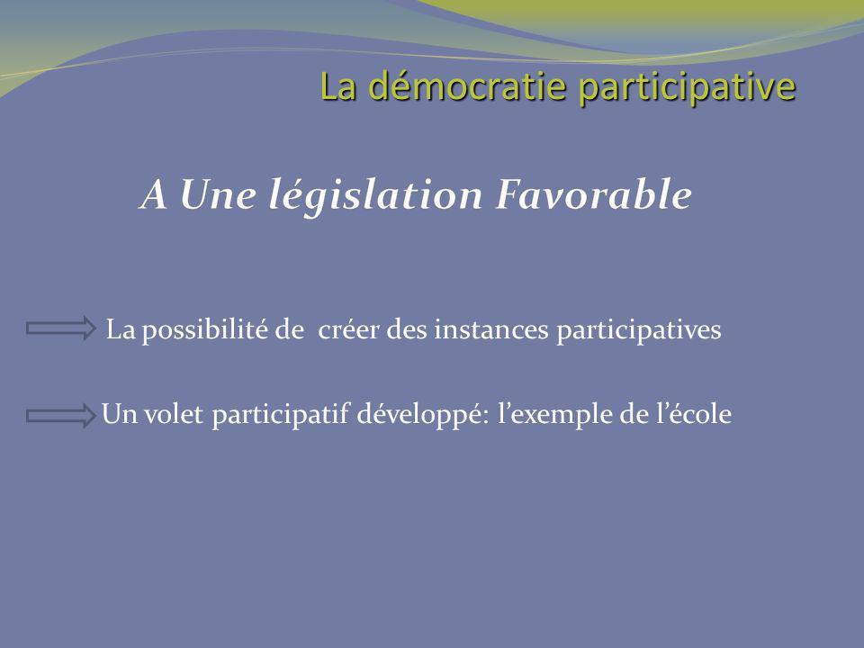 La possibilité de créer des instances participatives Un volet participatif développé: lexemple de lécole La démocratie participative La démocratie par