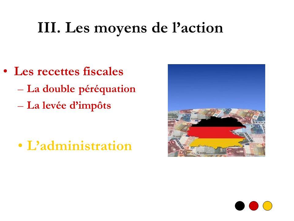 III. Les moyens de laction Les recettes fiscales –La double péréquation –La levée dimpôts Ladministration