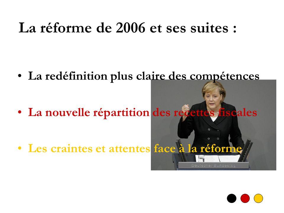 La réforme de 2006 et ses suites : La redéfinition plus claire des compétences La nouvelle répartition des recettes fiscales Les craintes et attentes face à la réforme