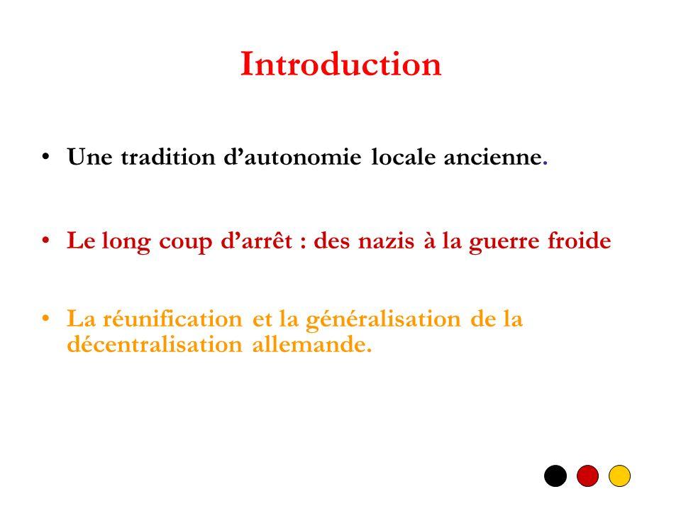 Introduction Une tradition dautonomie locale ancienne. Le long coup darrêt : des nazis à la guerre froide La réunification et la généralisation de la