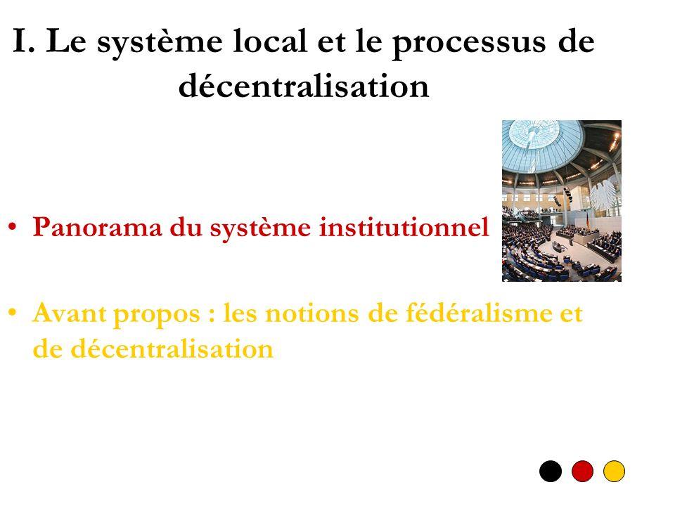I. Le système local et le processus de décentralisation Panorama du système institutionnel Avant propos : les notions de fédéralisme et de décentralis