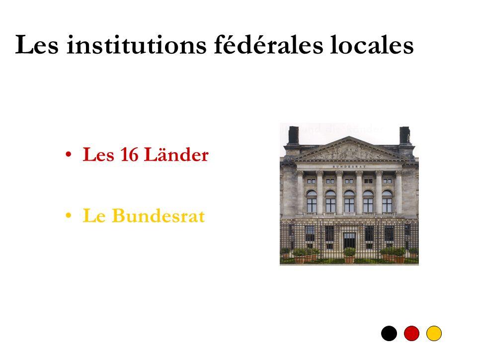 Les institutions fédérales locales Les 16 Länder Le Bundesrat