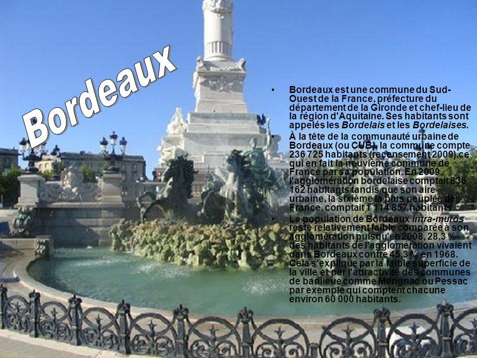 Bordeaux est une commune du Sud- Ouest de la France, préfecture du département de la Gironde et chef-lieu de la région d'Aquitaine. Ses habitants sont