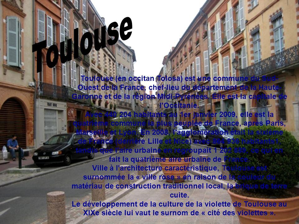 Toulouse (en occitan Tolosa) est une commune du Sud- Ouest de la France, chef-lieu du département de la Haute- Garonne et de la région Midi-Pyrénées.