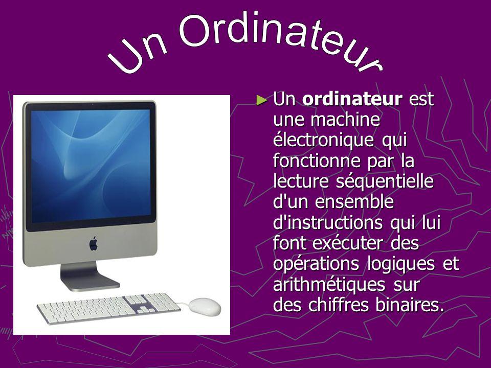 Un ordinateur est une machine électronique qui fonctionne par la lecture séquentielle d un ensemble d instructions qui lui font exécuter des opérations logiques et arithmétiques sur des chiffres binaires.